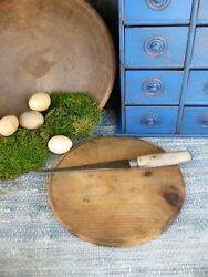 Primitive Antique Wood Cutting Board Make-do With Old Knife