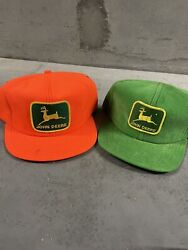 Vintage John Deere Trucker Hat Lot Of 2 K Products Louisville Nos Patch Rare Usa