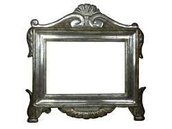 Antique 17th Century Italian Carved And Silvered Tabernacle Picture Frame