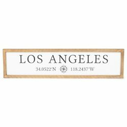 Los Angeles Brown Rectangular 25 Inch Wood Decorative Wall Or Tabletop Sign