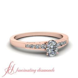 Rescinding Style Diamant Anneaux Or Rose Avec Forme Ovale Certifiandeacute Gia 0.85 Ct