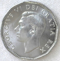 1952 Canada 5 Cent Coin Chromium And Nickel Plated Steel Brilliant Uncirculated