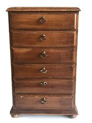 """Antique Alfred Assid Armoire 6-drawer Jewelry Chest 19-1/4""""h, 12-3/8""""w, 9-1/2""""d"""