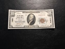National Bank Note Rushville Indiana Au To Unc Light Brown Stain Reverse