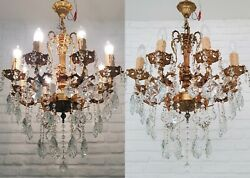 Matching Pair Of Antique Vintage 8 Arms Brass And Crystals Cherub Chandeliers Lamp