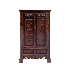 Chinese Vintage Brown Golden Scenery Armories Storage Cabinet Cs6059