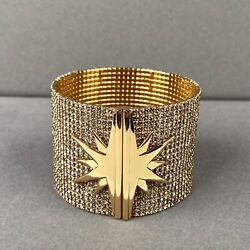India Hicks Star Cuff Bracelet Gold Tone With Czech Crystal Collectors Item