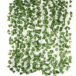 Magbeauty Artificial Ivy Garland Fake Vines 12 Strands Wall Plants Green For