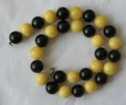 47.7gr Genuine Butterscotch Egg Amber Beads Necklace Black Yellow Red Cherry
