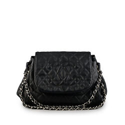 CHANEL Black Quilted Caviar Leather Timeless Accordion Flap Bag $1395.00