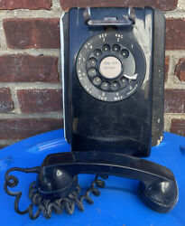 Vintage 1959 Black Western Electric Rotary Dial Wall Phone A/b554