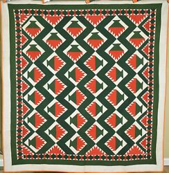 Museum Quality Vintage 1870's Red And Green Cake Stand Antique Quilt Great Border