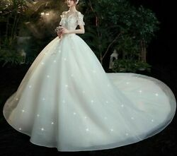 Star Wedding Dress Bride Gown Boat Neck Cap Sleeves Plus Size Pearls Crystal New
