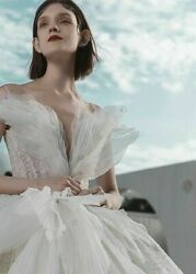 Feather Dress Wedding Gown V Neck Cap Sleeve Court Train Plus Size Organza Tulle