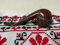 Antique Rare Pipe Real Briar Smoking Silver Plated With Special Metal Mercury