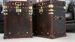 Finest Chestnut Brown Antique Inspired Leather Occasional Side Table Trunks