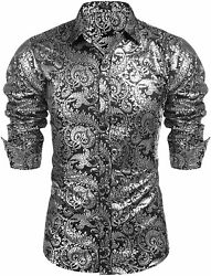 Coofandy Menand039s Luxury Design Shirts Floral Dress Shirt Casual Button Down Shirts