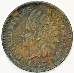 1865 Indian Head Bronze Penny One Cent 1c Us Extra Fine Coin