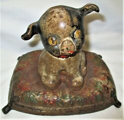 Antique Hubley Toy Co. Usa Fido Dog On Pillow Cast Iron Art Statue Home Doorstop