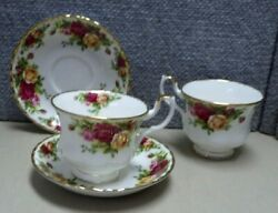 2 Royal Albert Old Country Roses Footed Tea Cups And Saucers Gold Trim