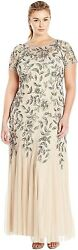 Adrianna Papell Womenand039s Plus-size Floral Beaded Gown With Godets