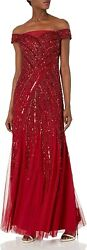 Adrianna Papell Womenand039s Beaded Off Shoulder Gown