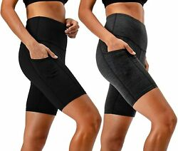 Devops Womenand039s 2-pack High Waist Workout Yoga Running Exercise Shorts With Side