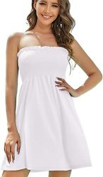 As Rose Rich Womenand039s Strapless Bathing Suit Coverups Elastic Ruched Tube Top Bea