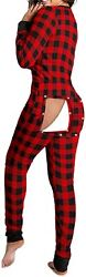 Mieeyali Womenand039s Sexy Butt Button Back Flap Jumpsuit V Neck Long Sleeve Romper B