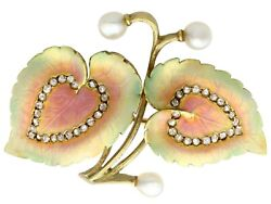 0.21ct Diamond Natural Pearl And Enamel 18ct Yellow Gold Brooch Antique Victorian