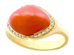 Vintage 3.67ct Pink Coral And 0.26ct Diamond 18k Yellow Gold Dress Ring
