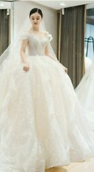Starry Sky Wedding Dress Ball Gown Ruffle Organza Tulle Off Shoulder Court Train