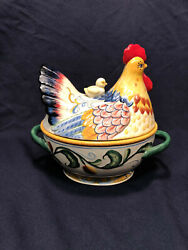 Fitz And Floyd Ricamo Rooster Jar 11