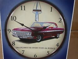 64 Plymouth Sport Fury 426 Backlit Led 14 Garage Clock Signs And Collectables