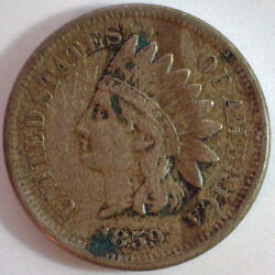 1859 Indian Head Copper Nickel Penny One Cent 1c Us Very Fine Coin