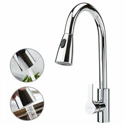 Stainless Steel Kitchen Sink Faucet Single Handle Spring Pull Down Sprayer Mixer
