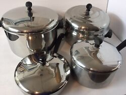 Vintage Farberware Stainless Steel Cookware Pots And Pans 8 Pcs Made In Usa