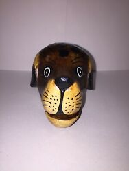 Wooden Smiling Dog Head Trinket Box Hand Carved And Painted Hinged Rare Vintage