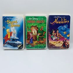 Disney Sword In The Stone, Robin Hood And Aladdin Black Diamond Classic Vhs Tapes