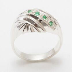 18ct White Gold Natural Emerald Womens Band Ring - Sizes J To Z