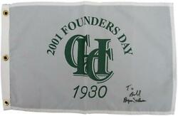 Byron Nelson Hershey Cc Signed 2001 Founders Day Pin Flag Psa/dna 145739