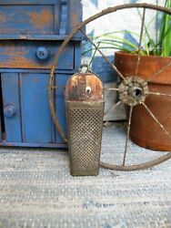 Early Antique Tin Nutmeg Spice Grater W Old Photo Print Homestead