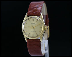 Rare Vintage Rolex Oyster Perpetual Ref 6551 14k Gold Mid Size 30mm Watch