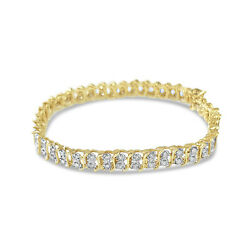 Double Row S Style Diamond Tennis Bracelets - 14k Yellow Gold - Gift For Her