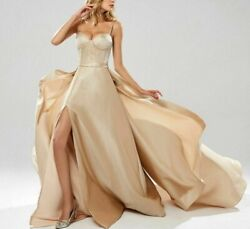 Glitter Wedding Dresses Sexy Flowing High Slit Empire Spaghetti Strap Party Gown