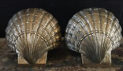 """Vintage Pair Solid Brass Scalloped Sea Shell Bookends 4.5"""" X 4.5"""" Heavy"""