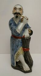 Antique Opium Pipe Smoker Chinese Porcelain Asian Figurine