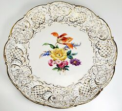 Antique Meissen Embossed Hand Painted Flowers Large Serving Platter Tray