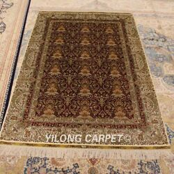 Yilong 4'x6' All Over Handmade Hand Knotted Red Silk Carpet Area Rug 799a
