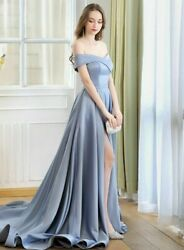 Sexy Evening Weddings Dress High Slit Off Shoulder Long Tail Ruched Chapel Train $243.99